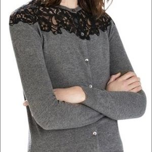 Zara gray and black lace cardigan sweater